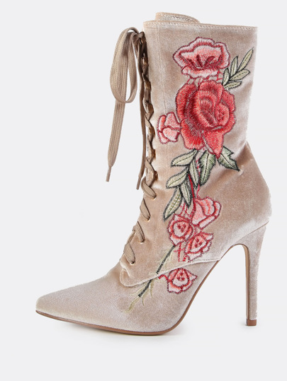 Velvet Floral Embroidered Lace Up Booties NUDE