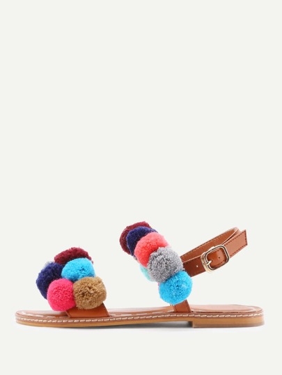 Pom Pom Decorated PU Flat Sandals