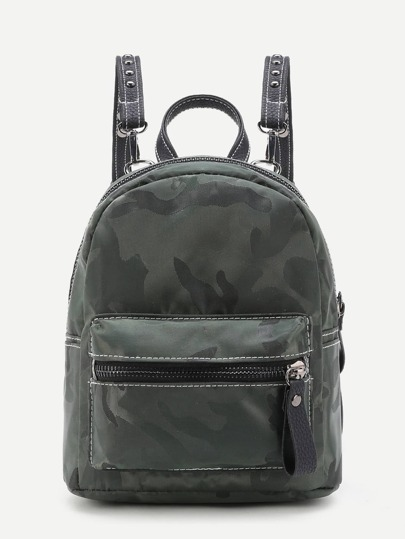 Camouflage Pocket Front Nylon Backpack