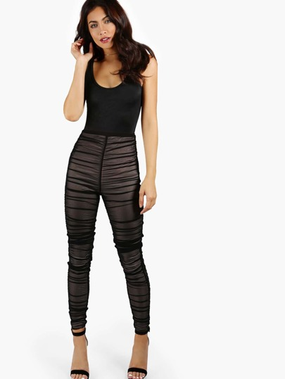 High Waist Ruched Pants & Bodysuit Set