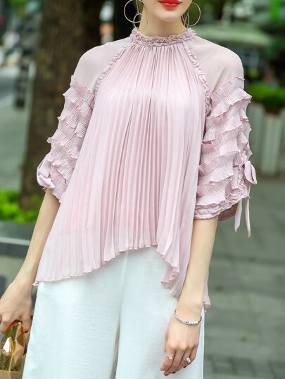 Ruffle Sleeve Pleated High Low Blouse