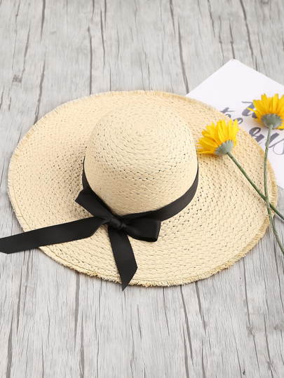 Straw Fedora Hat With Frayed Brim Edge