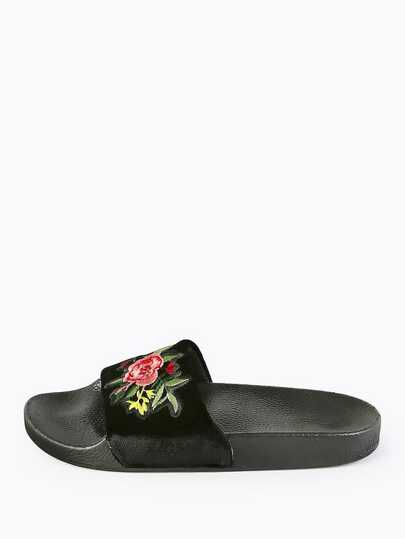 Embroidered Velvet Slides BLACK