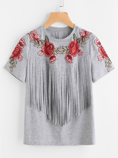 Embroidered Rose Applique Fringe Trim Heathered Tee