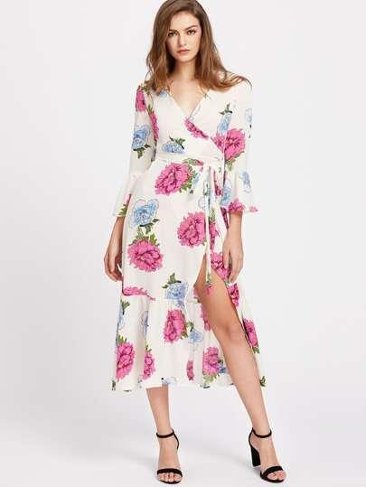 Plunge Neck Floral Print Bell Sleeve Slit Belted Dress