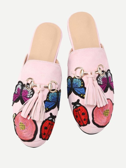Embroidery Detail Tassel Embellished Loafer Mules