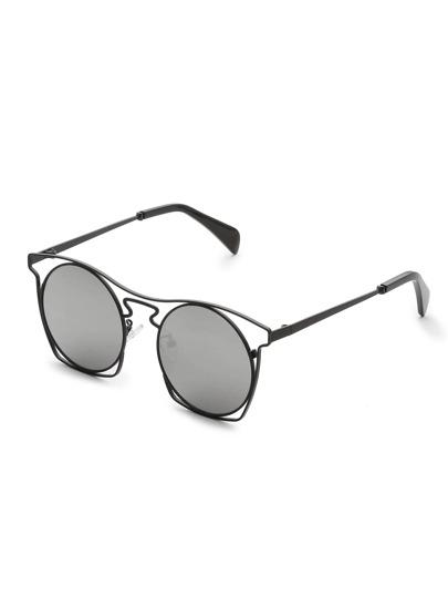 Hollow Frame Round Lens Sunglasses