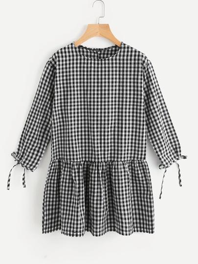Gingham Tie Cuff Smock Dress