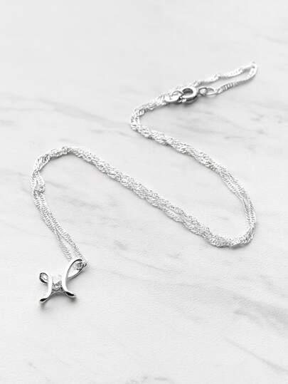 Rhinestone Embellished Pendant Chain Necklace
