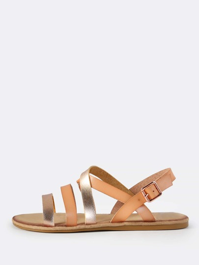 Two Tone Metallic Leather Sandals BLUSH