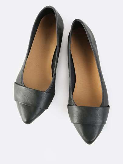Faux Leather Wide Band Flats BLACK