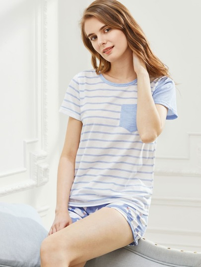 Contrast Striped Tee With Dolphin Print Shorts Pajama Set