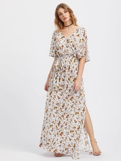 Split Sleeve Botanical Print Kimono Dress
