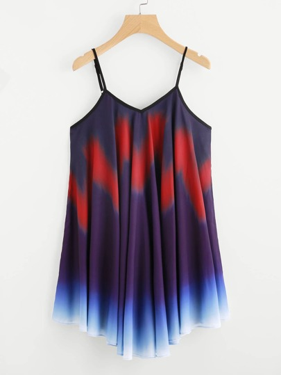 Ombre Asymmetrical Hem Slip Dress