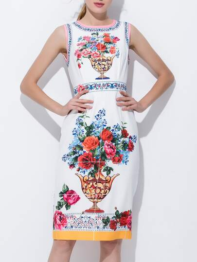 Flowers Print Split Sheath Dress