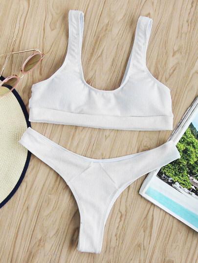 Scoop Neck Ribbed Bikini Set