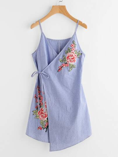 Embroidered Flower Applique Pinstripe Asymmetric Wrap Dress