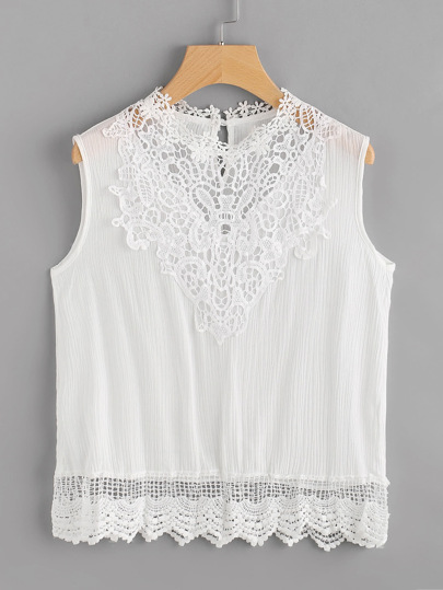 Crochet Lace Insert Tank Top