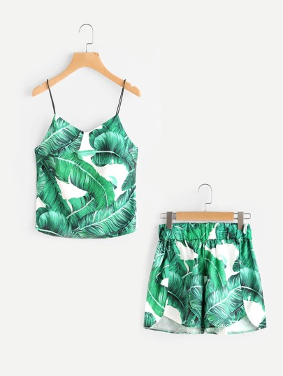 Palm Leaf Print Zip Slit Cami Top With Dolphin Shorts