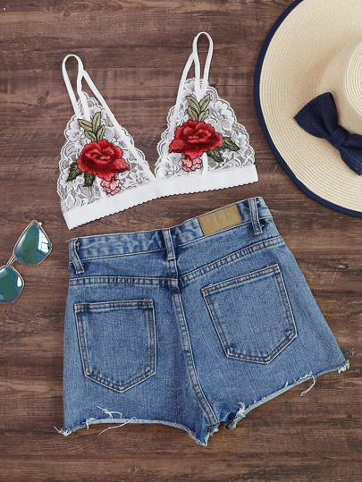 Rose Embroidered Patch Scalloped Hem Lace Bralet