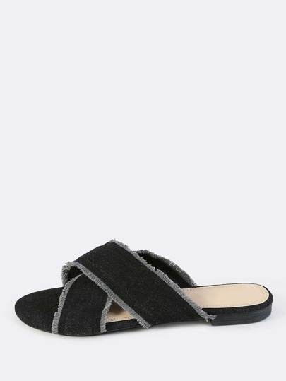 Frayed Crossed Band Denim Sandals BLACK