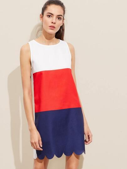 Kleid mit Farbblock, Knöpfen und Schlussloch hinten