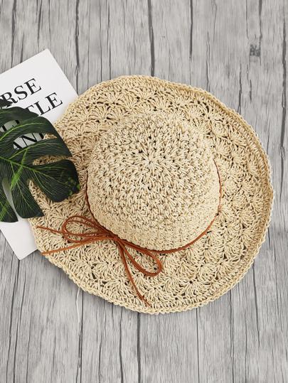 Sombrero playero de paja con lazo