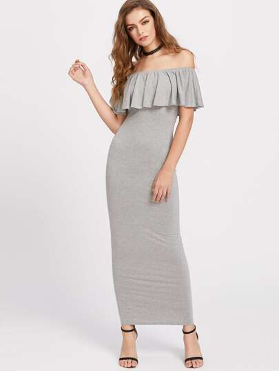 Heathered Flounce Layered Neckline Sheath Dress