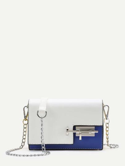 Contrast PU Flap Crossbody Bag