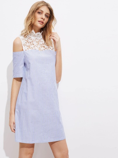 Contrast Floral Lace Yoke Open Shoulder Striped Dress