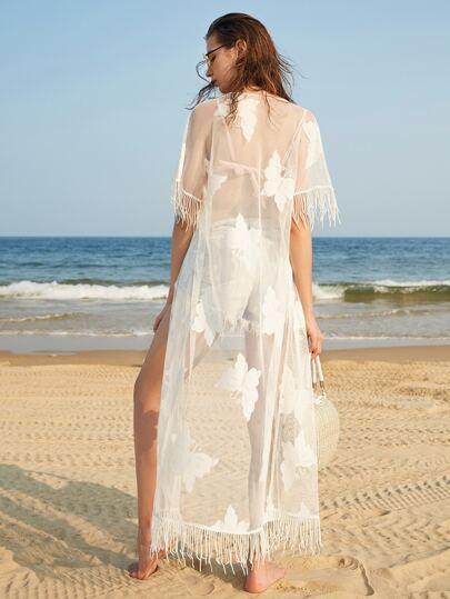 Fringe Trim  Longline Butterfly Lace Kimono