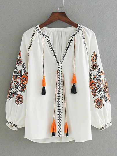 Flower Embroidery Tassel Tie Blouse