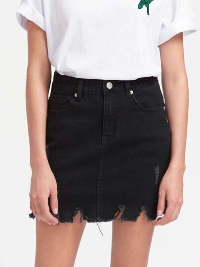Vented Side Raw Hem Denim Skirt