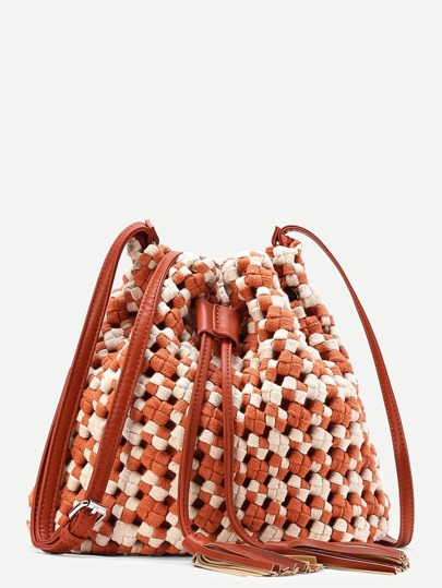 Tassel Detail Two Tone Woven Drawstring Bucket Bag