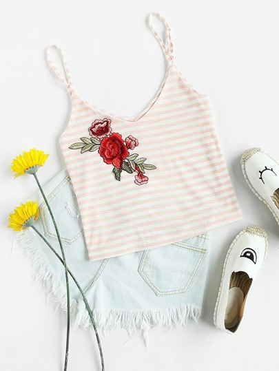 Contrast Striped Embroidered Cami Top