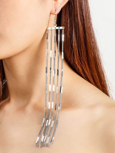 Chain Design Drop Earrings
