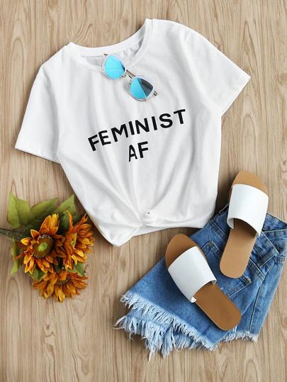 """T-shirt con stampa di """"Feminist AF """""""