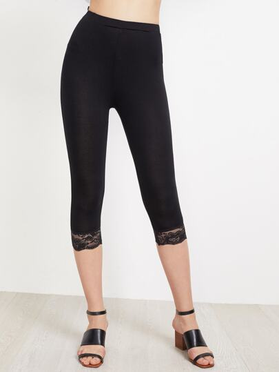 Floral Lace Hem Cropped Leggings