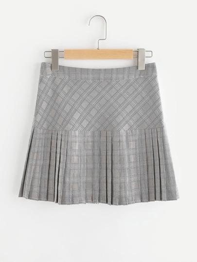 Drop Waist Pleated Mixed Check Skirt