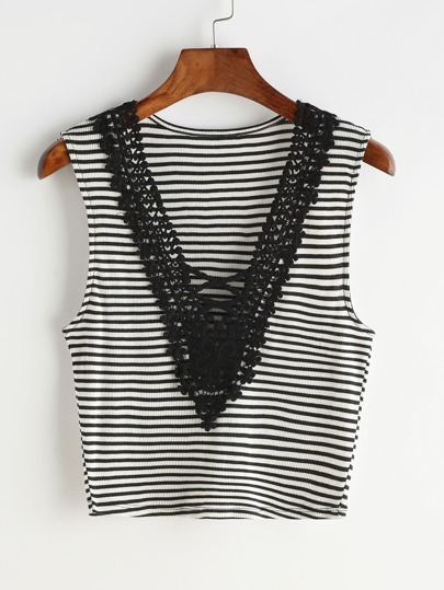 Crochet Lace Trim Crisscross Front Striped Tank Top