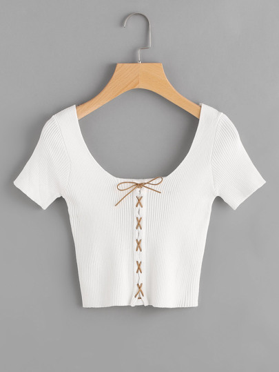 Ribbed Lace Up Crop Tee