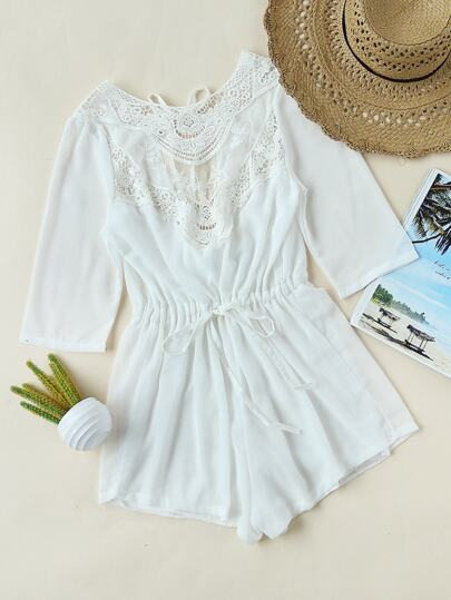 Lace Panel Chiffon Drawstring Open Back Self Tie Romper