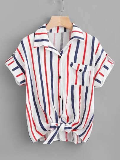 Blusa de rayas con nudo delantero de doblez con bolsillo