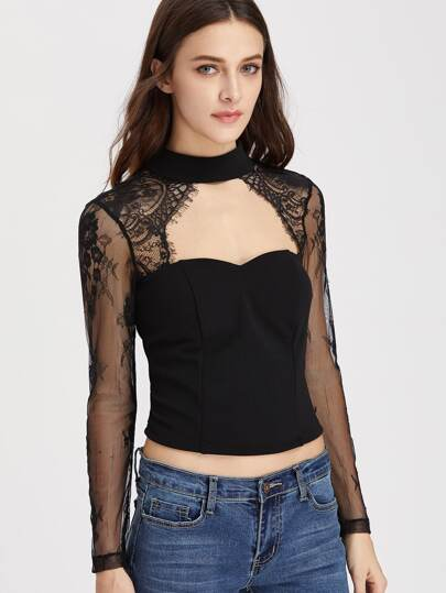 Lace Sleeve Open Front And Back Tailored Bustier Top
