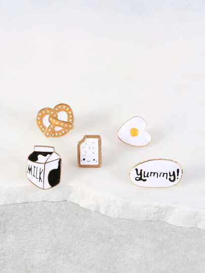 Food and Snacks Brooch Set GOLD MULTI