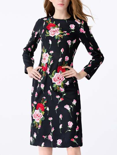 Flowers Applique Pouf Sheath Dress