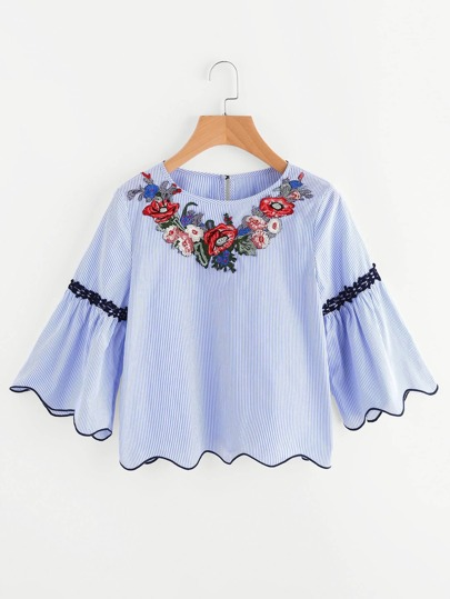 Embroidered Yoke Lace Applique Piping Scalloped Top