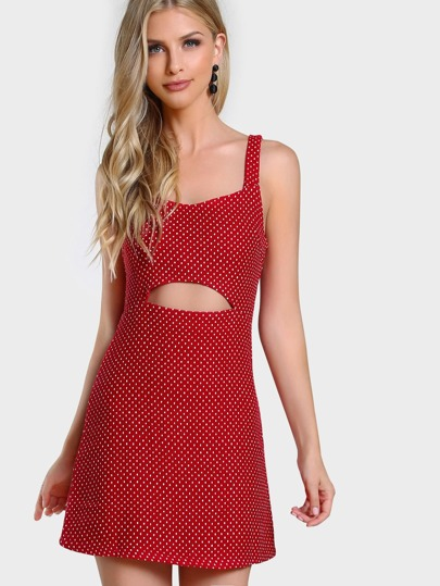 Polka Dot Cut Out Dress RED