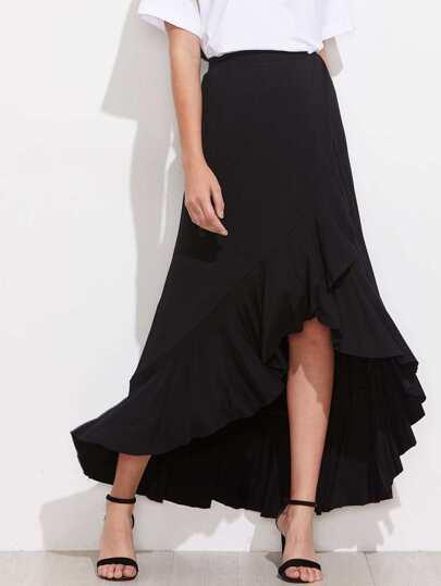 Frill Trim Overlap Skirt