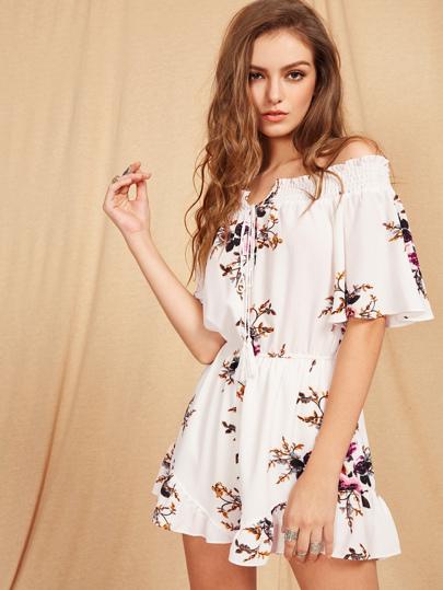 Bardot Floral Print Tie Front Romper